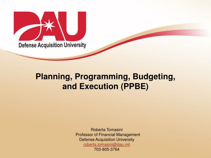 planning programming budgeting and execution ppbe n.