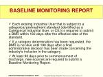 baseline monitoring report