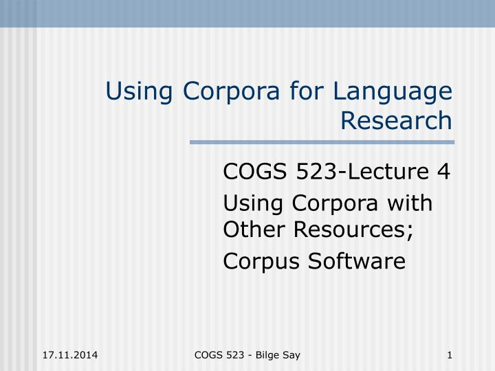 using corpora for language research n.