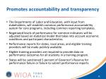 promotes accountability and transparency1