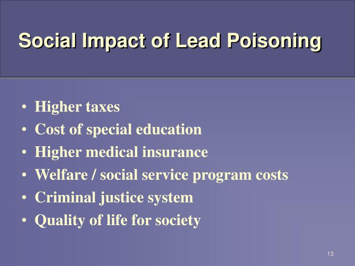 Social Impact of Lead Poisoning
