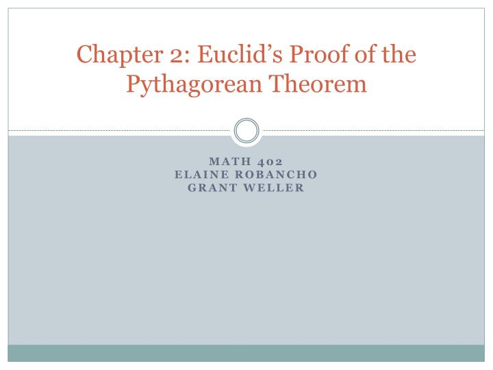 chapter 2 euclid s proof of the pythagorean theorem n.