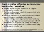 implementing effective performance monitoring requires