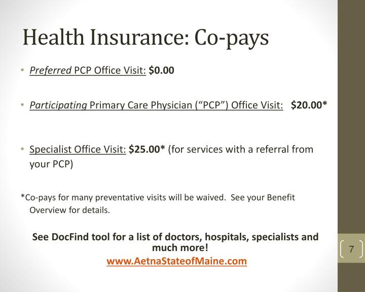 Health Insurance: Co-pays