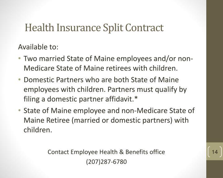 Health Insurance Split Contract