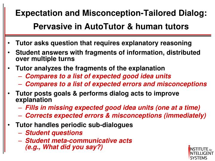 Expectation and Misconception-Tailored Dialog: Pervasive in AutoTutor & human tutors