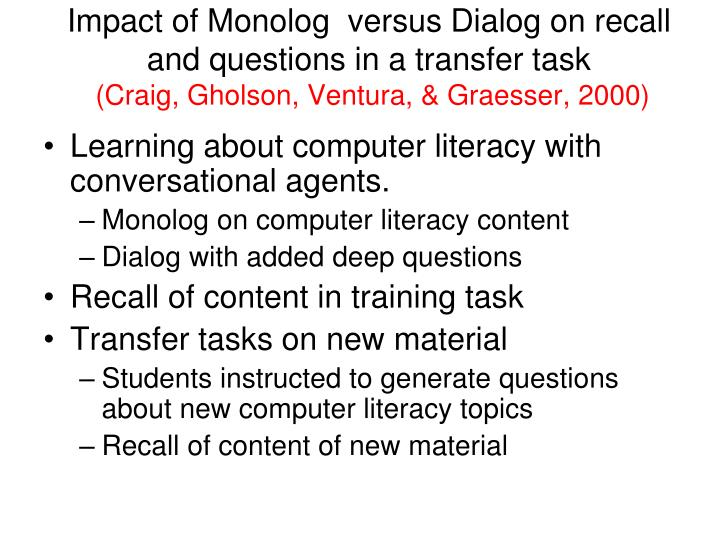 Impact of Monolog  versus Dialog on recall and questions in a transfer task