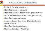 cpx cdc ipc deliverables