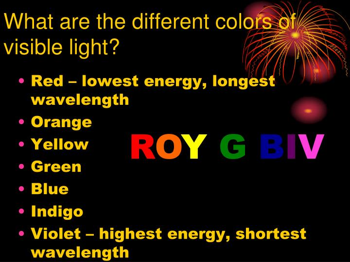 What are the different colors of visible light?