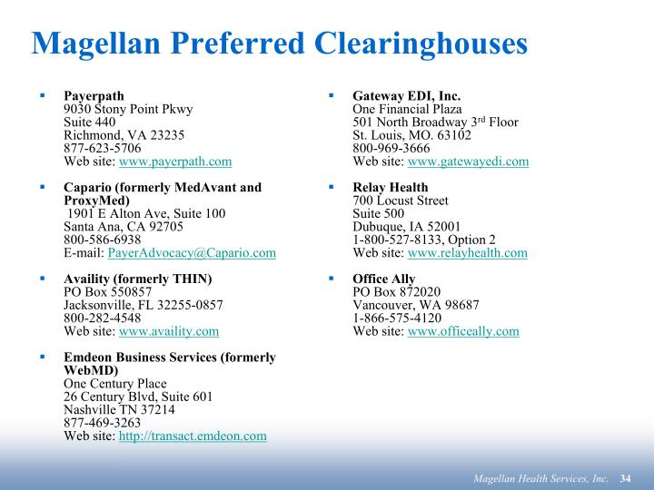 Magellan Preferred Clearinghouses