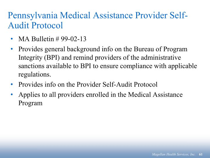 Pennsylvania Medical Assistance Provider Self-Audit Protocol