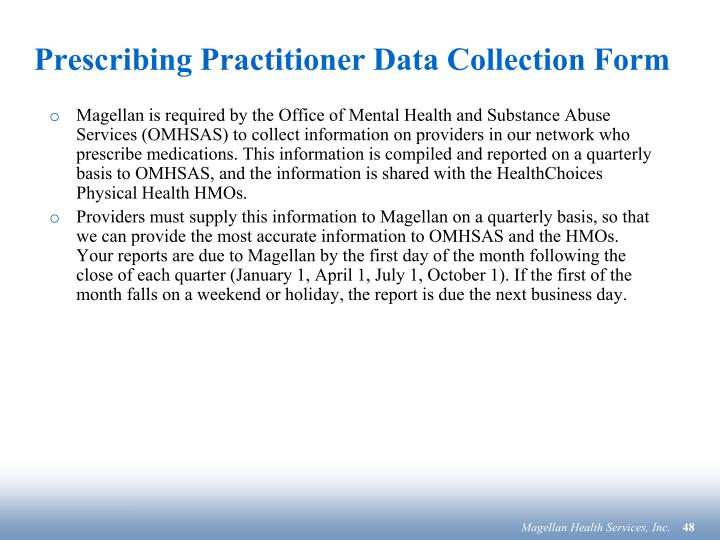 Prescribing Practitioner Data Collection Form