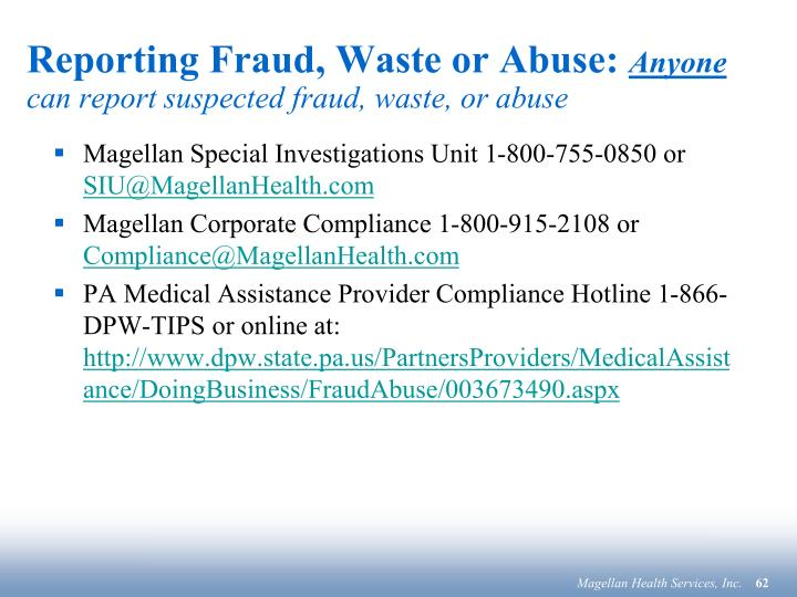 Reporting Fraud, Waste or Abuse: