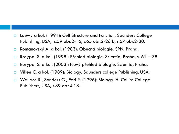 Loewy a kol. (1991): Cell Structure and Function. Saunders College Publishing, USA,  s.59 obr.2-16, s.65 obr.2-26 b, s.67 obr.2-30.