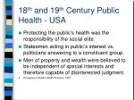 18 th and 19 th century public health usa
