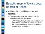 establishment of iowa s local boards of health
