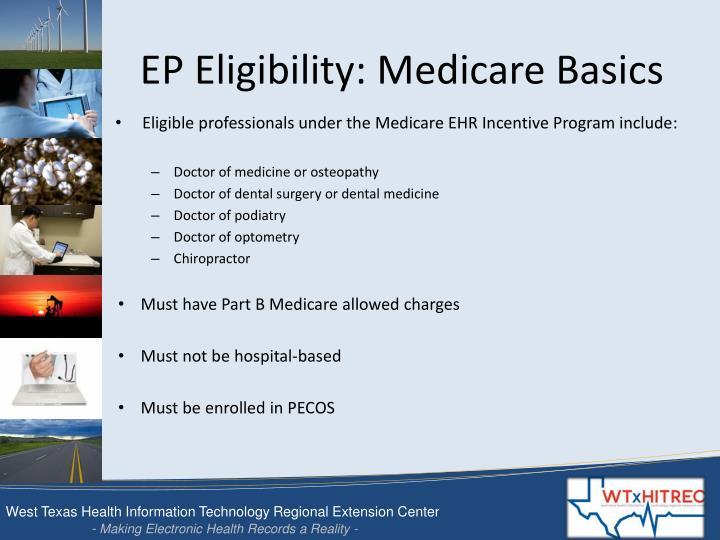 EP Eligibility: Medicare Basics