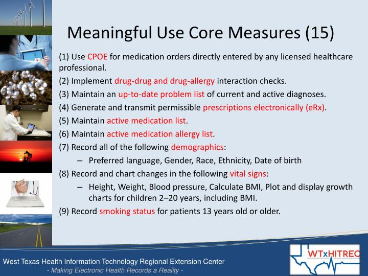 Meaningful use core measures 15