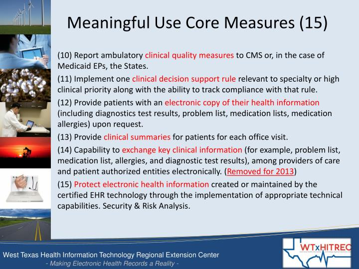 Meaningful Use Core Measures (15)