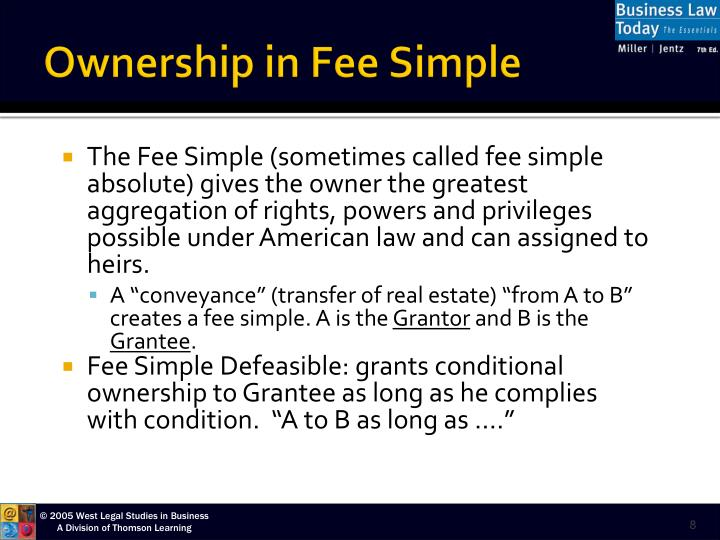 real property fee simple determinable The fee simple and fee tail self-quiz sam owns blackacre in fee simple absolute sam conveys the property to diane diane has a fee simple determinable and frazier has a possibility of reverter diane.