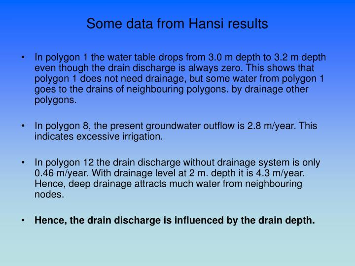Some data from Hansi results