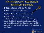 information card radiological instrument summary