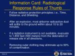 information card radiological response rules of thumb