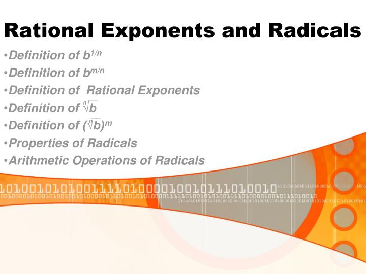 rational exponents and radicals n.