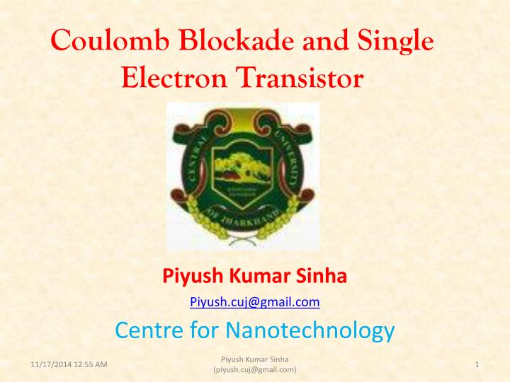 coulomb blockade and single electron transistor n.
