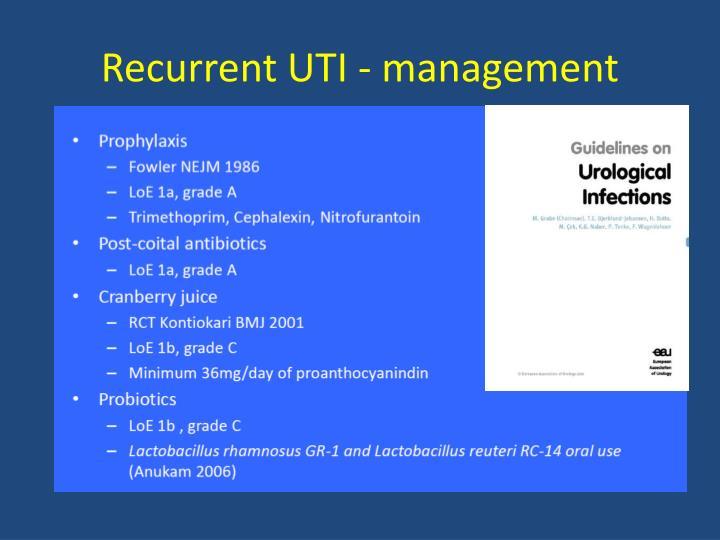 Recurrent UTI - management