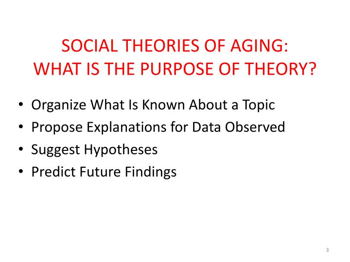 gerontology chapter 3 theories of aging A strong foundation on the normal aging process leads to sections on promoting health and wellness among the elderly specialist practitioners discuss the most common health care problems of the elderly and their related nursing care.