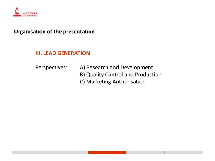 Organisation of the presentation