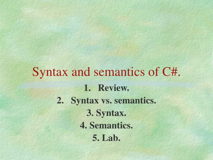 syntax and semantics of c n.