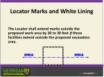 locator marks and white lining