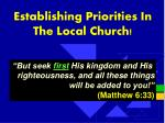 establishing priorities in the local church