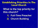 establishing priorities in the local church1