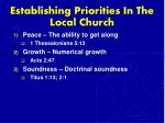 establishing priorities in the local church5