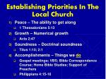 establishing priorities in the local church6