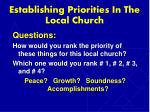 establishing priorities in the local church7