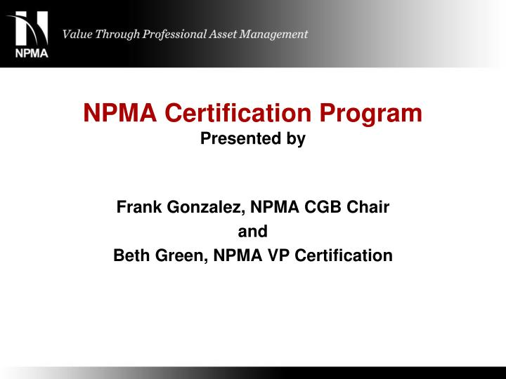 npma certification program presented by n.