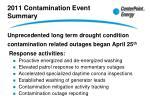2011 contamination event summary
