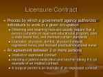licensure contract