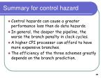 summary for control hazard