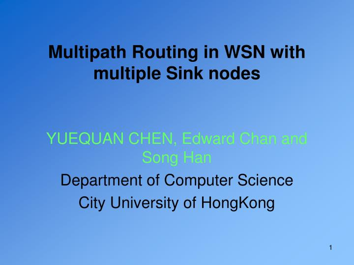 multipath routing in wsn with multiple sink nodes n.