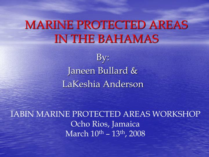 marine protected areas in the bahamas n.