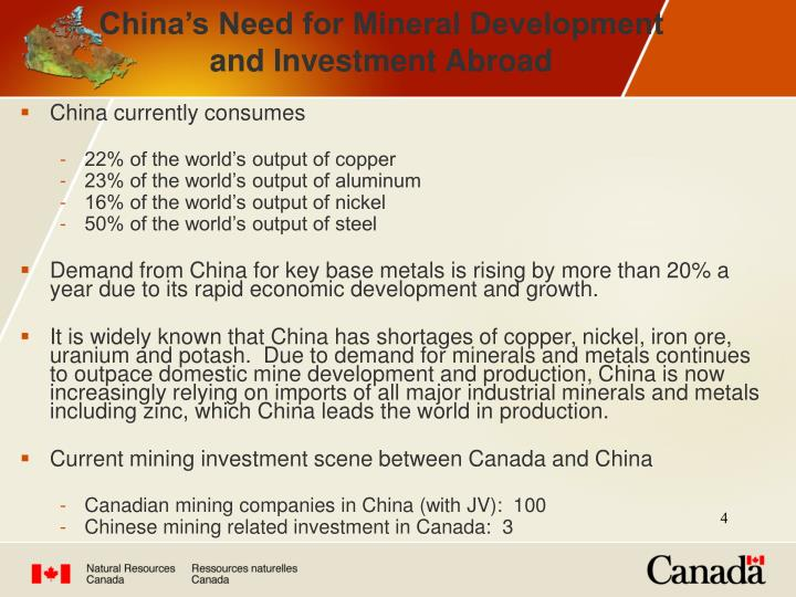 China's Need for Mineral Development and Investment Abroad