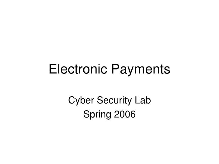 electronic payments n.