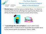 the shain reports mental injury and psychological safety in the workplace