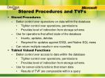 stored procedures and tvfs