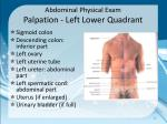 abdominal physical exam palpation left lower quadrant